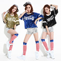 2016 Sexy Korean Style Sequins  Summer Fashion Casual Loose Letter Baby Dance T Shirt Bar Short Design Women Hip Hop