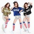 2016 Sexy Lentejuelas Estilo Coreano de Moda de Verano Flojo Ocasional Carta Bebé Danza Camiseta Barra de Diseño Corto de Las Mujeres Hip Hop