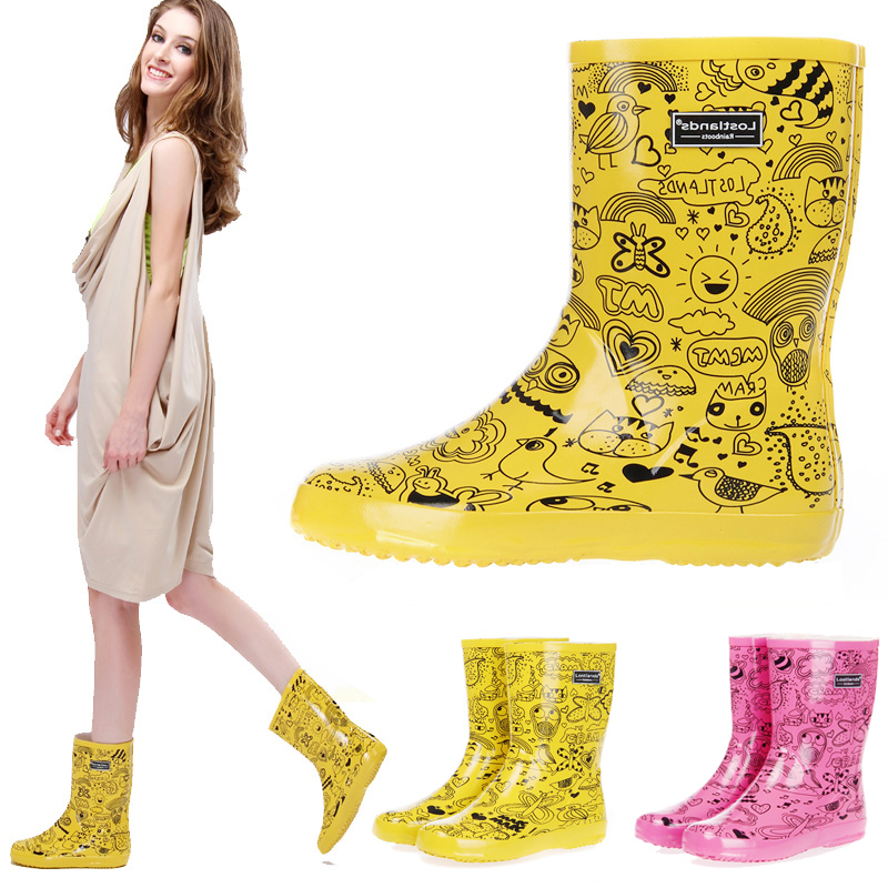 kalb Print Rutschfeste Lavendel Graffiti Stiefel Wasserdicht Mittler gelb Cartoon Tragen Frauen Gummi Regen Für 5470nvwW