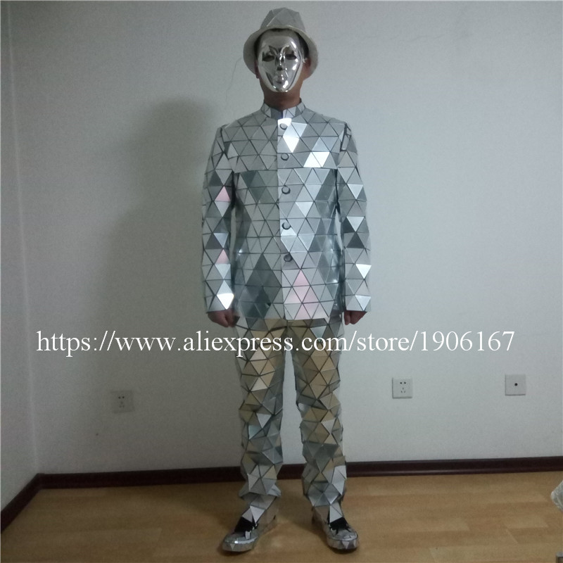Catwalk Shows Men Silver Color Stage Ballrooom Costume Mirror Man Clothing Party Christmas Performance DJ Singer Clothes Suit02