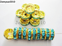 200 sztuk/partia 4mm Top Quality Aqu Czeski Kryształ Rhinestone Pave Rondelle Metal Spacer Luźne Koraliki Biżuteria Making