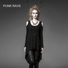 Панк рейв Готический летний рок черный визуальный Kei Женская мода длинный кардиган футболка Топ свободный размер PT025