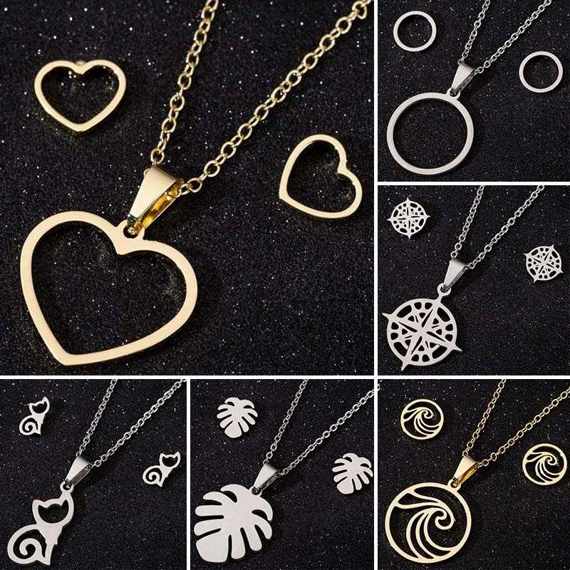 Jisensp Stainless Steel Jewelry Set Gold Heart Round Necklace Earrings Sets for Woman Wedding Party Wave Necklaces Pendants 2019