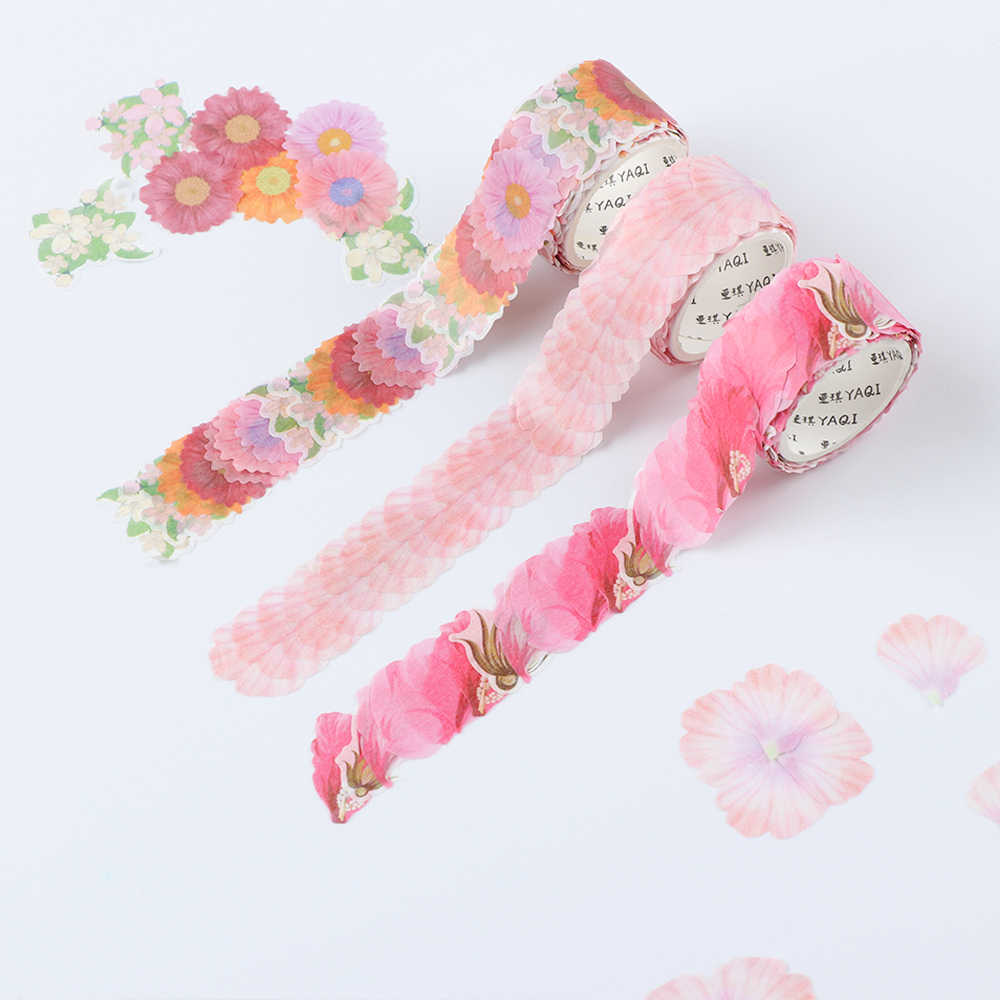 200Pcs/Roll Flower Petals Washi Tape Decorative Masking Tape Fragrance Sakura Washi Tape Scrapbooking Diary Paper Stickers Gifts