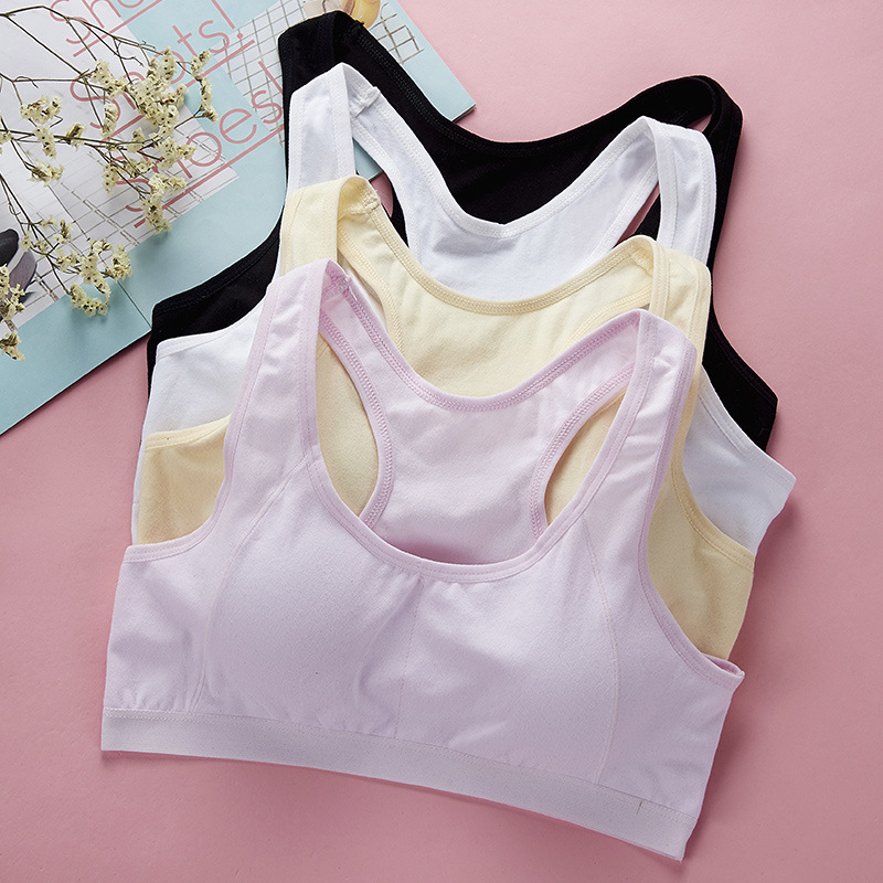 3a70eb7124ee4 4pcslot Child Girls Cotton Bra For Young Girls Kids Teenage Underwear  Wireless Sport Training Puberty Bras ...