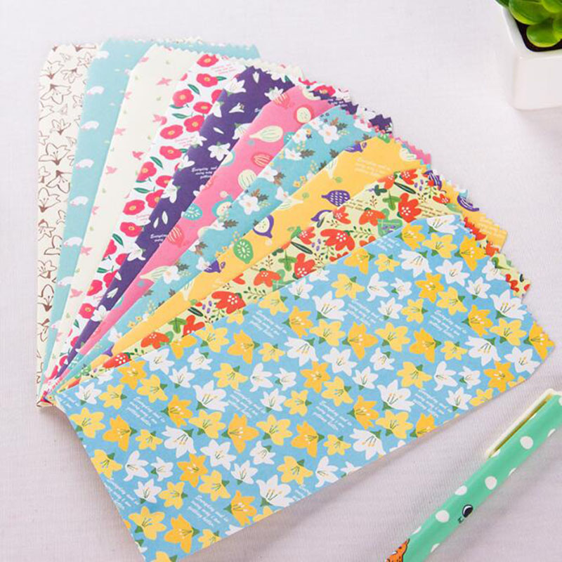 10pcs / Bag Four Seasons Floral Envelope Ming Letter Shell Letter Fixed Storage Gift