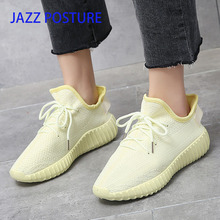 Luxury Women's Shoes Casual Fashion Sneaker Flat Platform Stretch Fabric Ladies Shoes 2019 New Mesh Lace-up High Quality y056