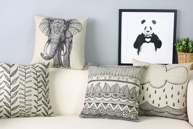 hand painted Elephant Pillow Cushion Modern Artistic black white