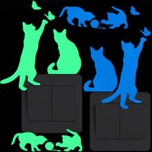 Playing Cat Luminous Switch Decoration Sticker Home Decor Glow in the Dark Animal Wall Sticker for Kid Room Boy Girl Bedroom DIY