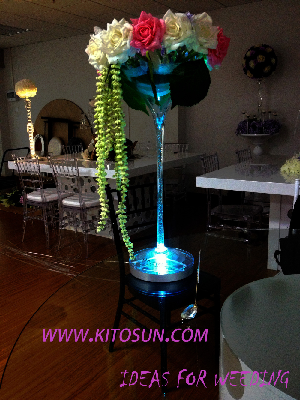 Wholesale Party Decoration Rechargeable Lithium Battery Operated 8inch Led Centerpiece Light Base For Wedding Decoration Light
