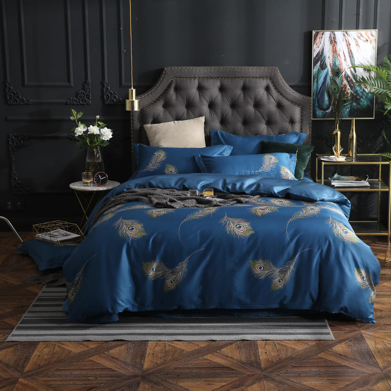 2018 New Drop Ship Bedding Set Queen/King Size Duvet Cover Set Peacock feathers egyptian cotton Bed Sheet Sets Home Textile2018 New Drop Ship Bedding Set Queen/King Size Duvet Cover Set Peacock feathers egyptian cotton Bed Sheet Sets Home Textile
