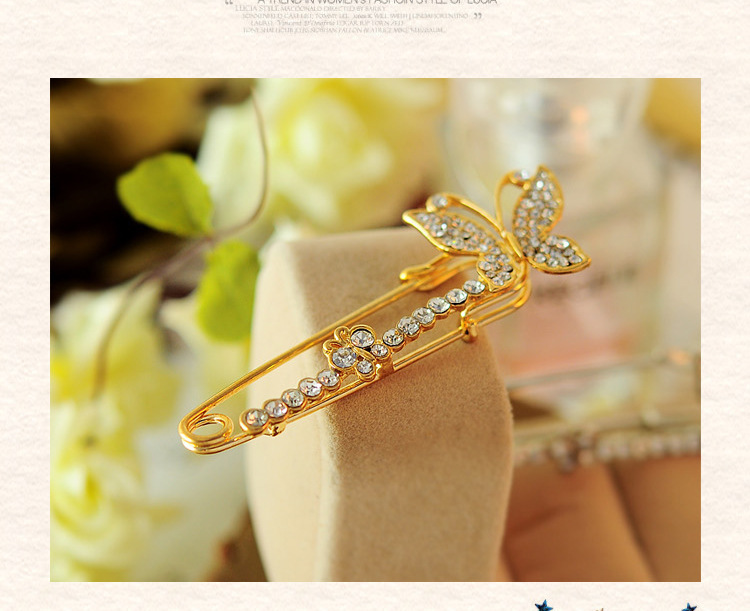 Crystal mosaic butterfly shape crystal rhinestone jewelry Crystal mosaic brooch Large safety pin