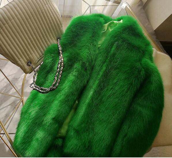 Women Hairy Shaggy Faux Fox Fur O-Neck Short Jackets Gradient Gray Coat New