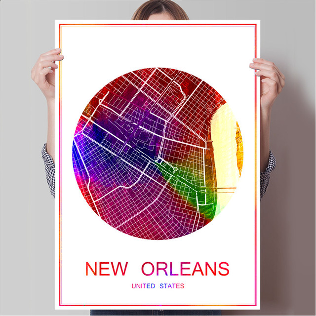 New orleans usa world famous city map print poster print on paper or canvas wall sticker