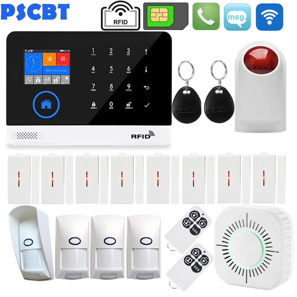 PSCBT WIFI GSM Alarm Home Security Kit APP Control RFID LCD Voice Touch Keypad Outdoor Waterproof PIR Sensor Residential AlarmPSCBT WIFI GSM Alarm Home Security Kit APP Control RFID LCD Voice Touch Keypad Outdoor Waterproof PIR Sensor Residential Alarm