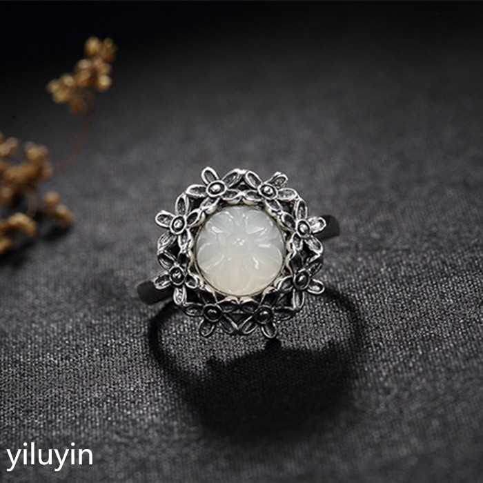 Rings Contemplative Kjjeaxcmy Boutique Jewelry S925 Sterling Silver Antique Inlaid And Tian Yu White Jade Flower Lady High-end Open Ring Ring Quality And Quantity Assured