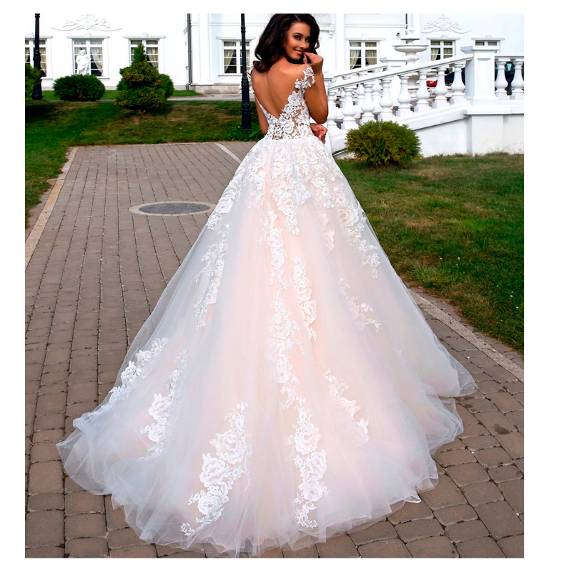 A Line Wedding Dresses 2019 Lace Appliques Cap Sleeves Sexy Backless Bride Dress Lace Appliques White / Ivory Custom Made G0926