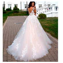 A Line Wedding Dresses 2019 Lace Appliques Cap Sleeves Sexy Backless Bride Dress White / Ivory Custom made G0926