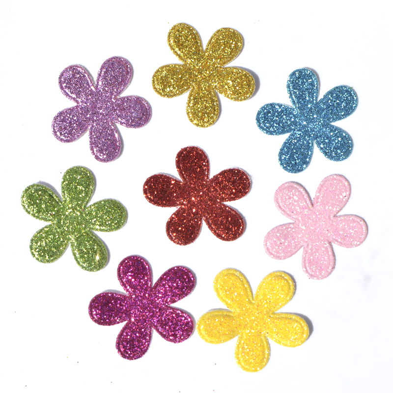 40PCS Mixed Colors 26*28mm Glitter Leather Padded Flower Felt Appliques for DIY Sewing Supplies Kids Craft Accessorie K10 ...