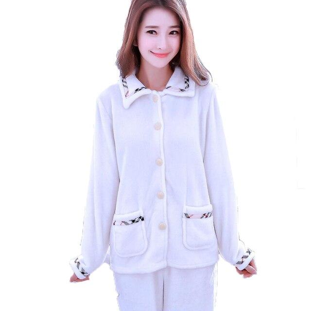 best website 9f1e3 eb055 US $38.08  Herbst Winter Schlafanzug Frauen Pijamas Mujer Warm Flanell  Pyjama Set Femme Langarm Nachtwäsche Anzug Nette Trainingsanzug Nachtwäsche  ...