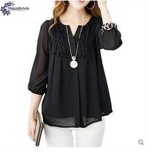TNLNZHYN Women clothing chiffon tops 7 points sleeve Round collar blouses ladies casual fashion Big yards shirts chiffon TT580