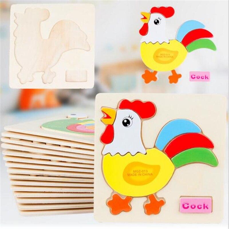 Лидер продаж мультфильм животных головоломки Eduactional игрушки 3D головоломки деревянные головоломки игрушки для детей детские развивающие иг...