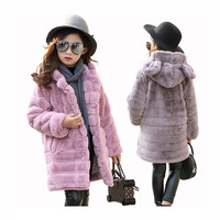 children's winter jackets girls faux fur coat pink long hooded jacket outerwear kids hoodies top coat girls clothes 8 years 2018