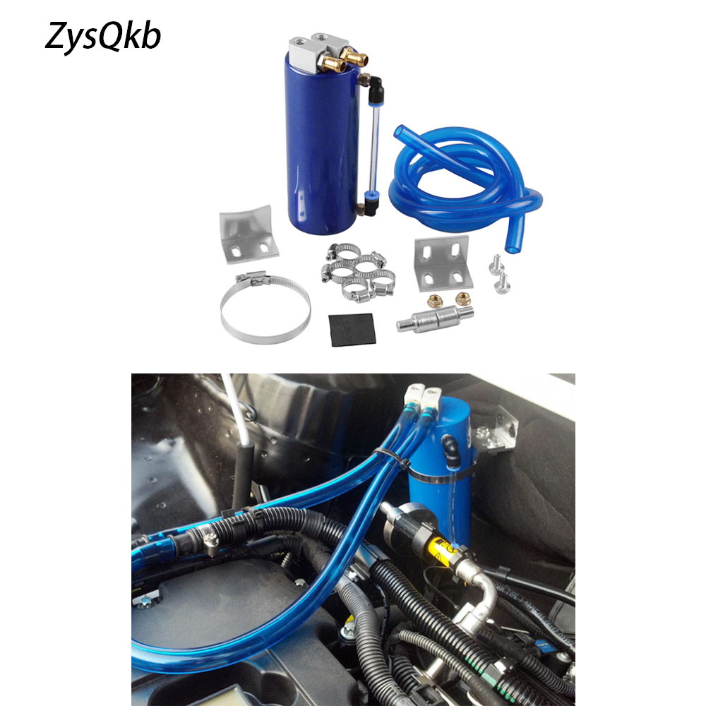 Universal Aluminum Car Round Oil Reservoir Catch Can Tank Kit Blue for Mazda KIA