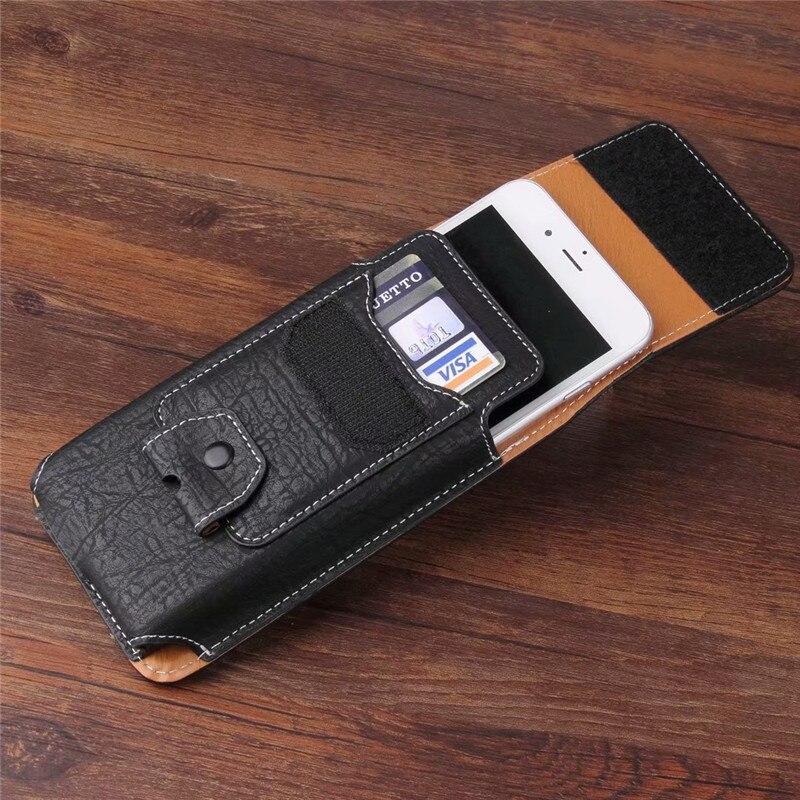 Universal del teléfono celular de cuero cintura cinturón Clip de bolsillo con ranuras para tarjetas para Blackview BV9500 BV6800 BV5800 BV9000 A20 Pro