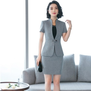 Good Price Summer Short Sleeve Blazers Suits With 2 Pieces Tops And Skirt Uniform Styles Business Work Wear Elegant Gray Beauty Salon Sets — wickedsick