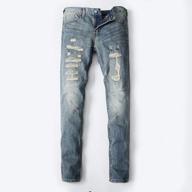 90cca4bfcaf5b Dsel marca moda algodón modelos finos slim fit pantalones vaqueros de los  hombres flojos del ajuste