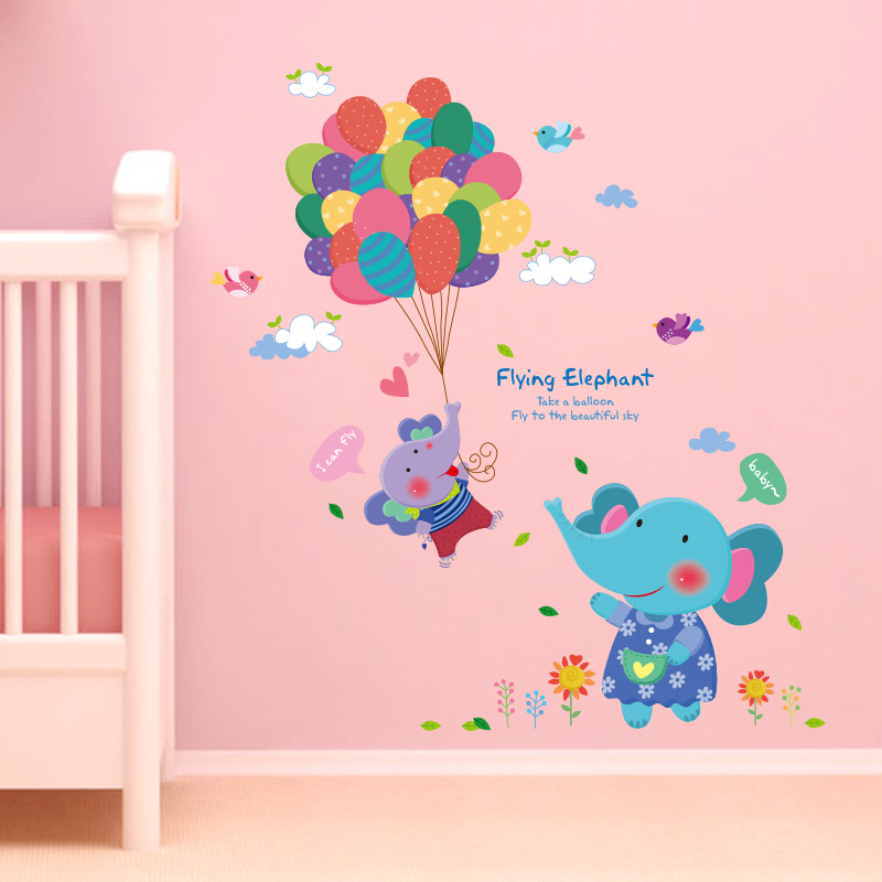Cartoon Flying Elephant Wall Stickers For Kids Bedroom