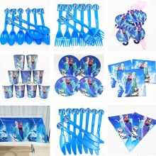 82pcs Disney Frozen Princess Anna Elsa Knife fork spoon Plate cup napkin Knife fork spoon Kids Birthday party supplies frozen кукла disney frozen elsa