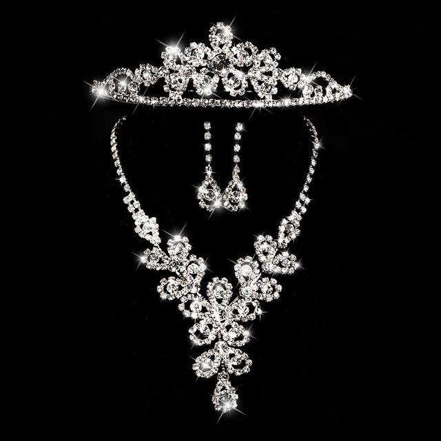Joyería de la boda conjuntos de novia accesorios de Cristal de girasol rhinestone corona aretes collar de tres piezas conjunto