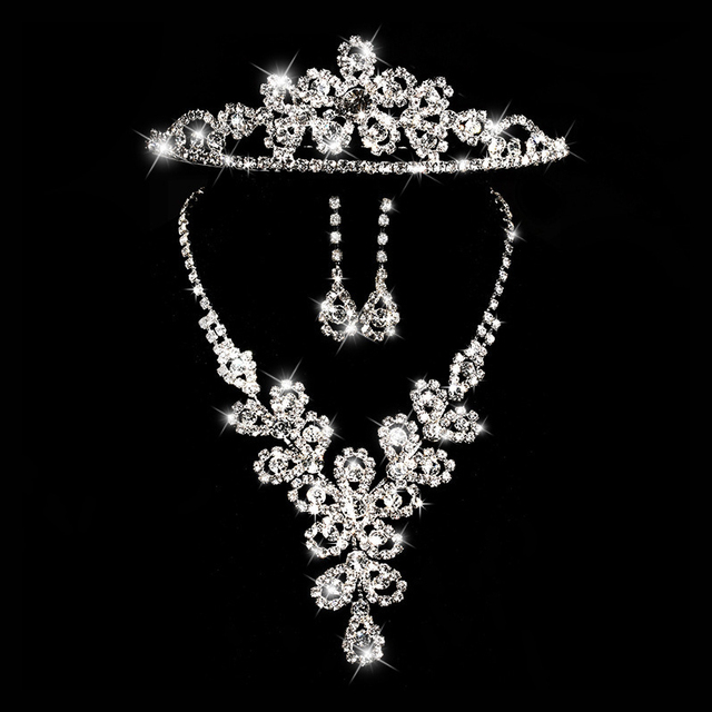 wedding jewelry sets bride Crystal accessories sunflower rhinestone crown necklace earrings three pieces set