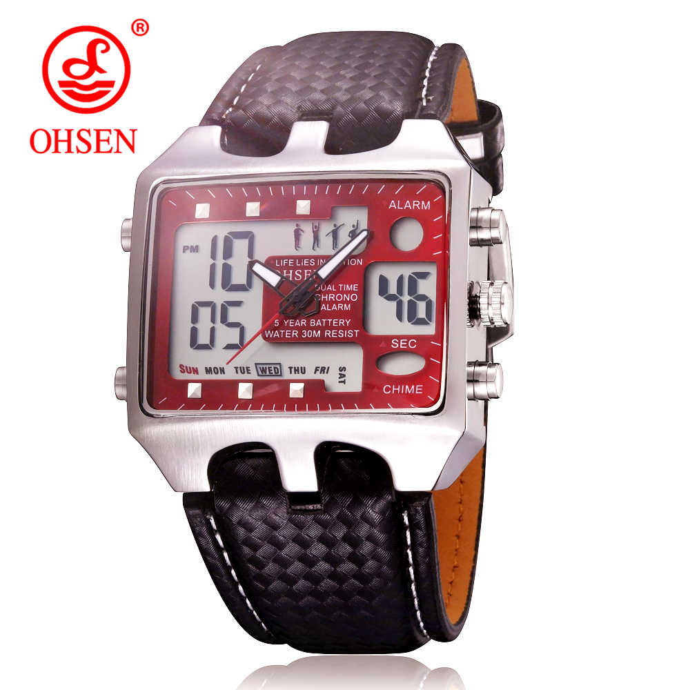 OHSEN Analog Digital Men Sport Watches Backlight Reloj Hombre Relogios Masculino Waterproof Military Leather Dress Wrist Watch