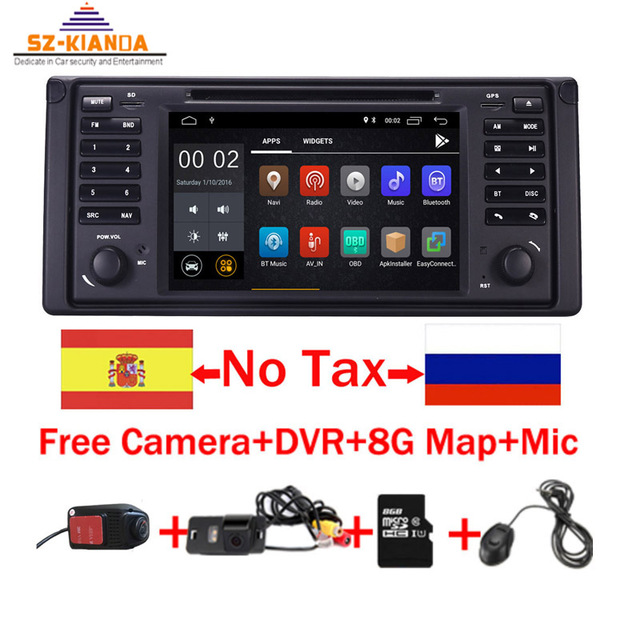 """Android 8.1 Quad Core GPS Navigation 7"""" Car DVD Player for BMW E39 5 Series/M5 1997-2003 Wifi 3G Bluetooth DVR RDS USB Canbus"""