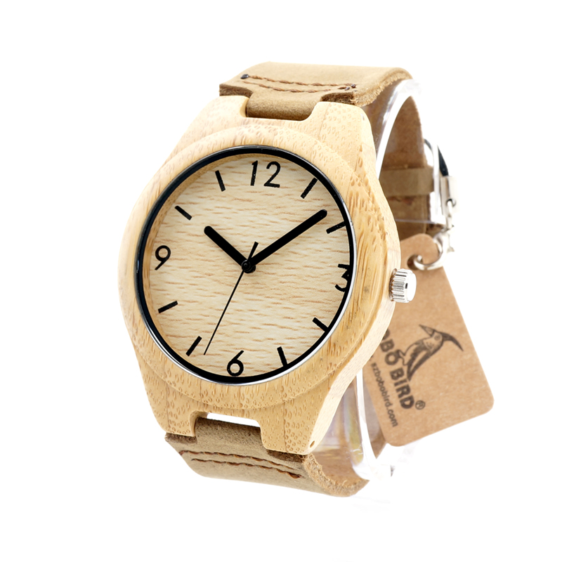 ФОТО BOBO BIRD Women Wooden Wristwatch Japanese Miyota 2035 Movement  Genuine Leather Bamboo Watches for Men and Women Best Gifts