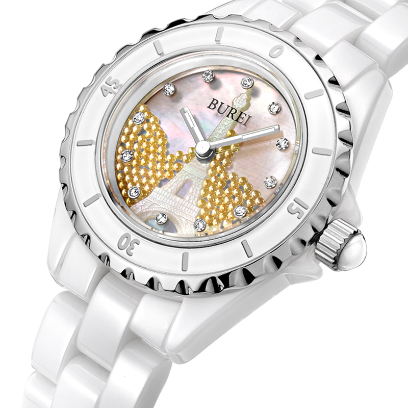 BUREI Women Business Watch Ceramic Band Analog Crystal Rhinestone Quartz Waterproof Wristwatch Lady Dress Clock Montre Femme burei luxury women watch fashion ceramic band watches sapphire glass quartz wristwatch waterproof lady clock montre femme
