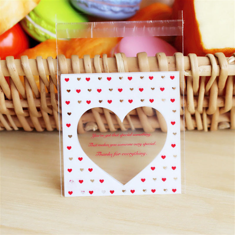 50Pcs/lot Cute Heart Theme Candy Cookie Bags Wedding Birthday Party Candy Buscuit Packaging Bag Christmas Plastic Gift Bags(China)