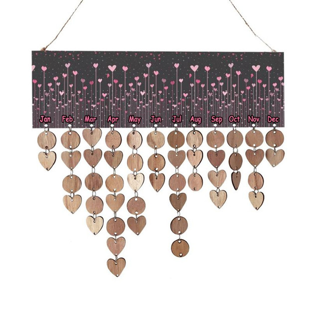 New Creative Home Hanging Decoration 1pcLove Wood Birthday Reminder