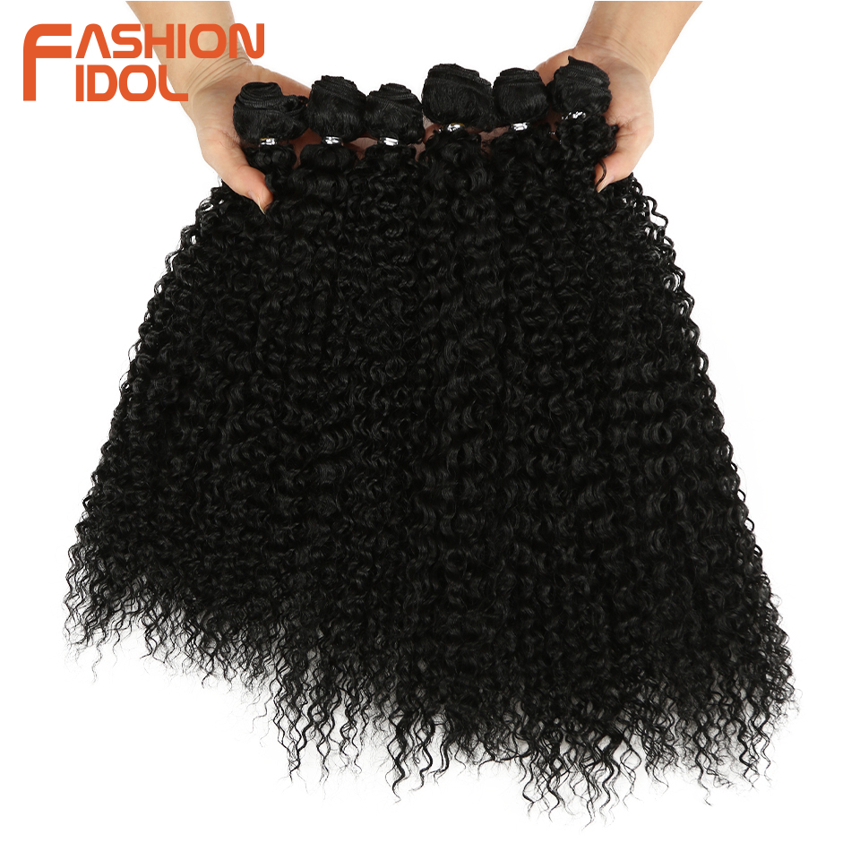 FASHION IDOL Afro Kinky Curly Synthetic Hair Extensions Bundles Ombre 6Pieces Heat Resistant Weave Hair Bundles For Black Women(China)