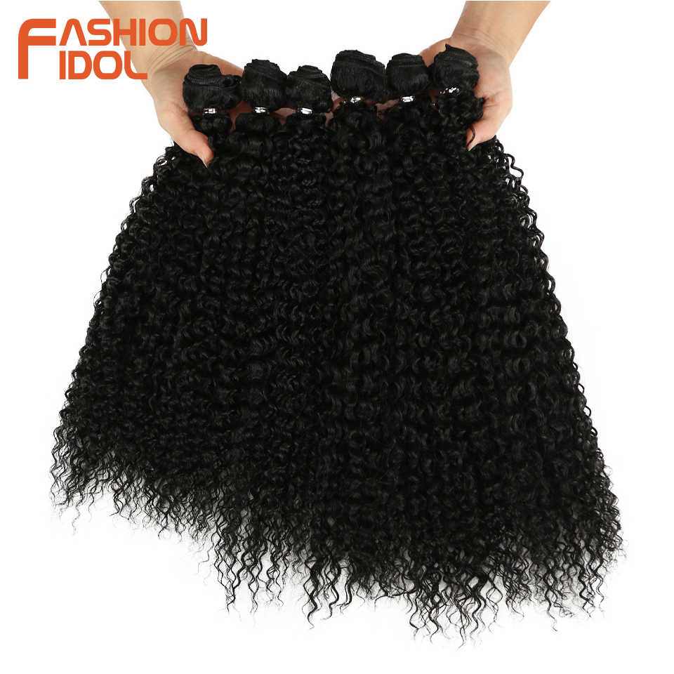 FASHION IDOL Afro Kinky Curly Synthetic Hair Extensions Bundles Ombre 6Pieces Heat Resistant Weave Hair Bundles For Black Women