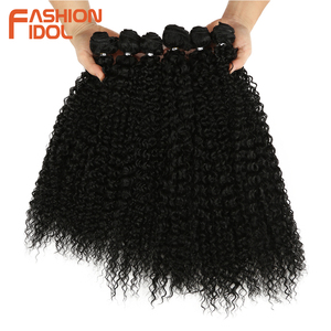 Image 1 - FASHION IDOL Afro Kinky Curly Synthetic Hair Extensions Bundles Ombre 6Pieces Heat Resistant Weave Hair Bundles For Black Women