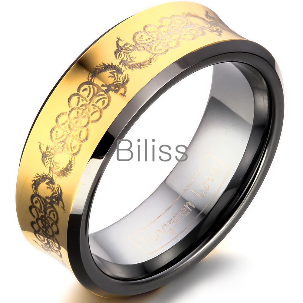 8mm Top Quality Mens Gold Concave Phoenix Design Gold Tungsten Carbide Wedding Ring For Men anel male диагностика педагогического процесса в доу практическое пособие