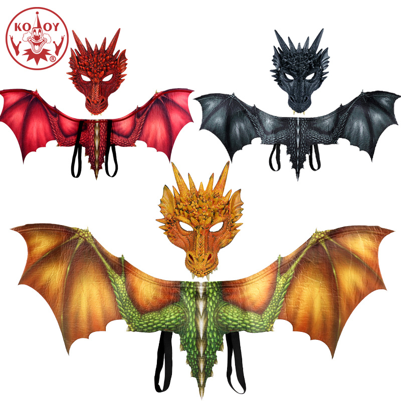Cosplay Dinosaur costume Dragon mask wing Adult halloween costumes for women men adult Dinosaurio latex masks Carnival Party