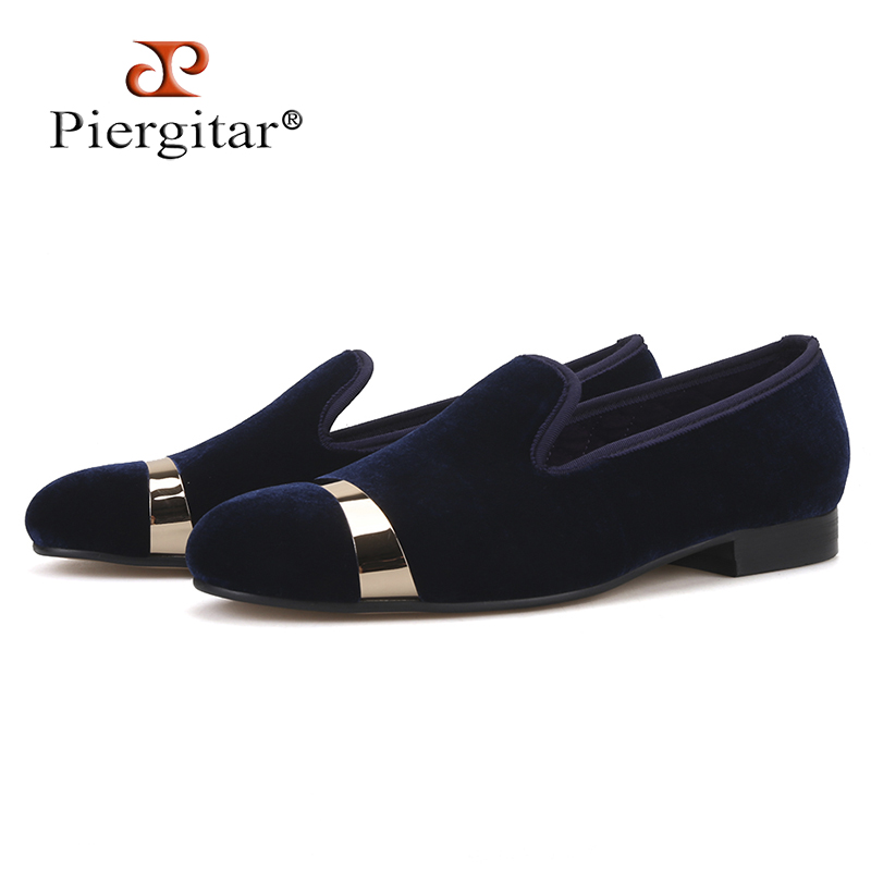 Piergitar new style Handmade men navy velvet shoes with gold metal on shoes toe fashion party wedding and banquet male loafersPiergitar new style Handmade men navy velvet shoes with gold metal on shoes toe fashion party wedding and banquet male loafers
