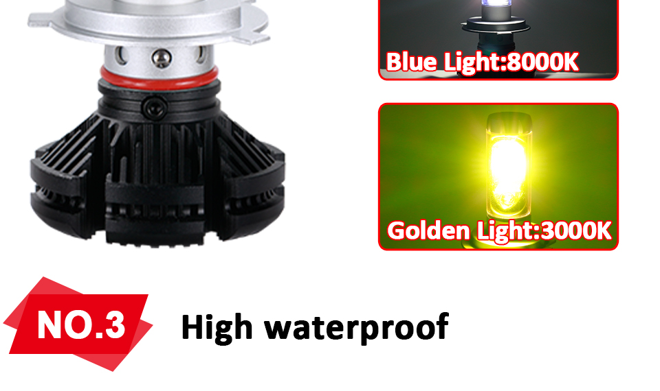 Aceersun X3 Series Fanless 50W H7 LED Car Headlight Bulbs WhiteAmber 6000lm H7 Auto Headlamp LED Car Bulb 12V 3000K6500K8000K (5)