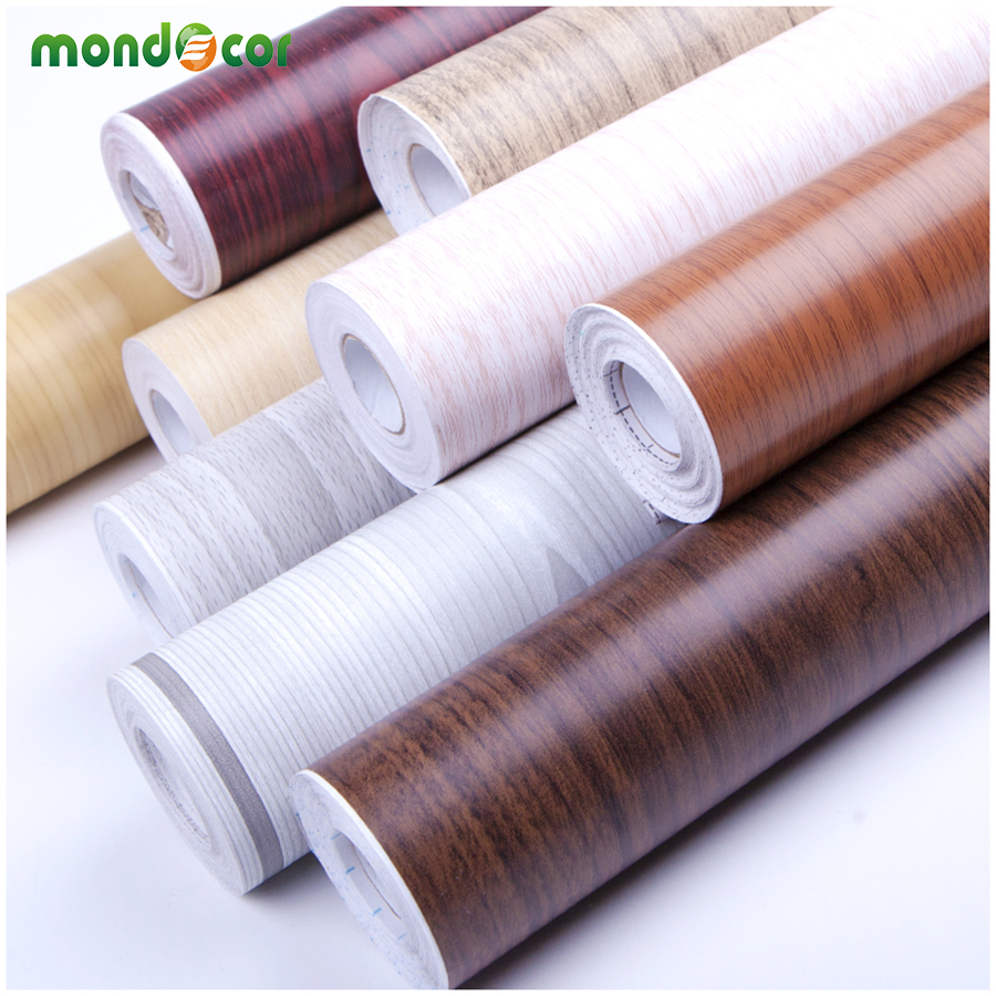 10Meters New Waterproof Vinyl Wall Stickers Roll Wallpaper Furniture Wood Grain Paper Self Adhesive Film Wardrobe