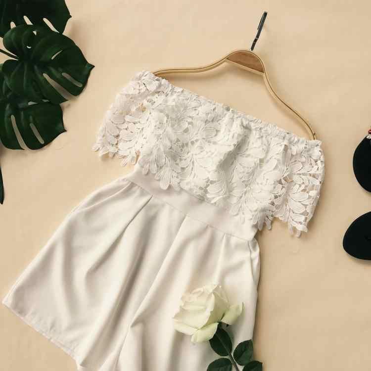 Sommer Frauen Mode Regelmäßige Spitze Floral Crochet Aushöhlen Overall Damen Städtischen Strampler Overalls Breite bein-hosen Overalls
